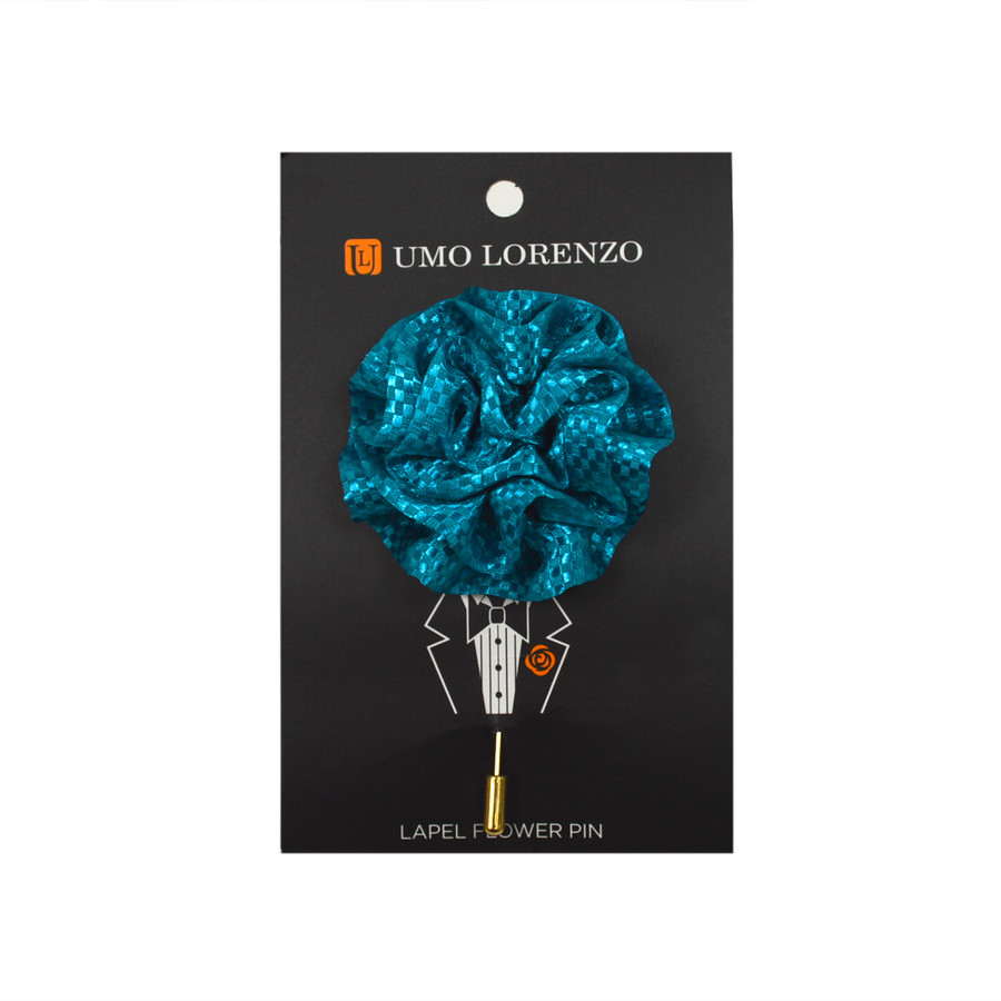 Turquoise Poly Lapel Flower Pin F9473-TQ