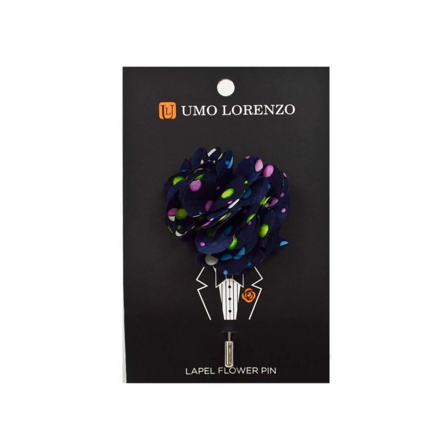 Black Polka Dots Poly Lapel Flower Pin F10079