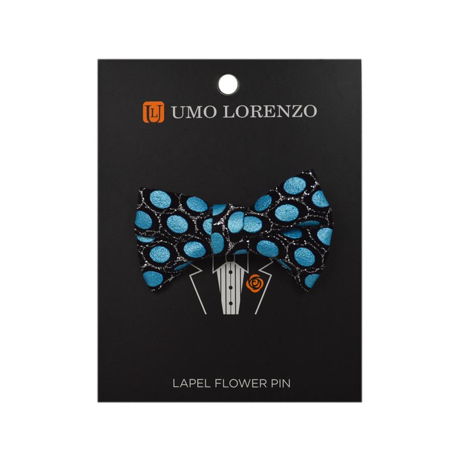 Blue Ikat Poly Bow Lapel Pin B10158-BL