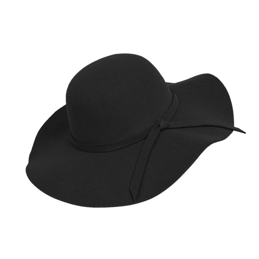 Black Poly Floppy Wide Brim Bowknot Hat
