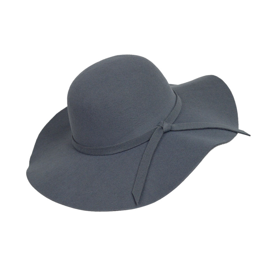 Charcoal Poly Floppy Wide Brim Bowknot Hat