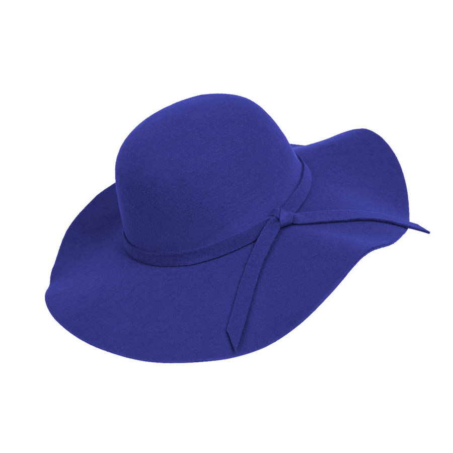 Royal Blue Poly Floppy Wide Brim Bowknot Hat