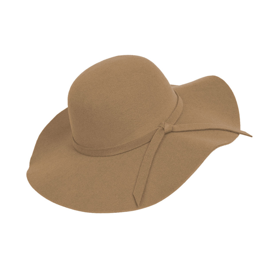 Camel Poly Floppy Wide Brim Bowknot Hat