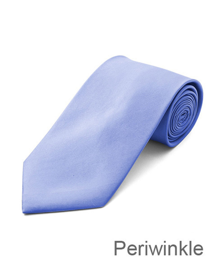 """3.5"""" Periwinkle Poly Solid Satin Tie PS1301-PEW"""