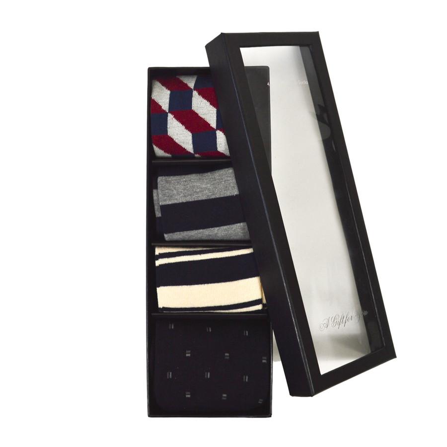 4pairs Fancy Multi Colored Socks Gift Box SFGB02