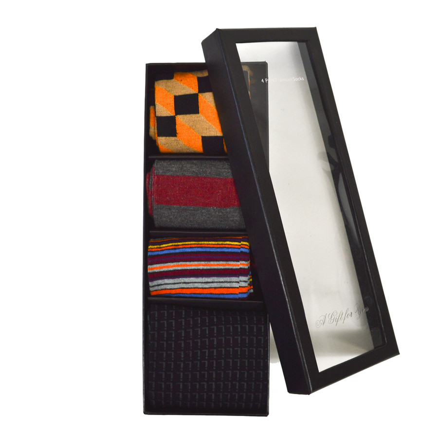 4pairs Fancy Multi Colored Socks Gift Box SFGB08