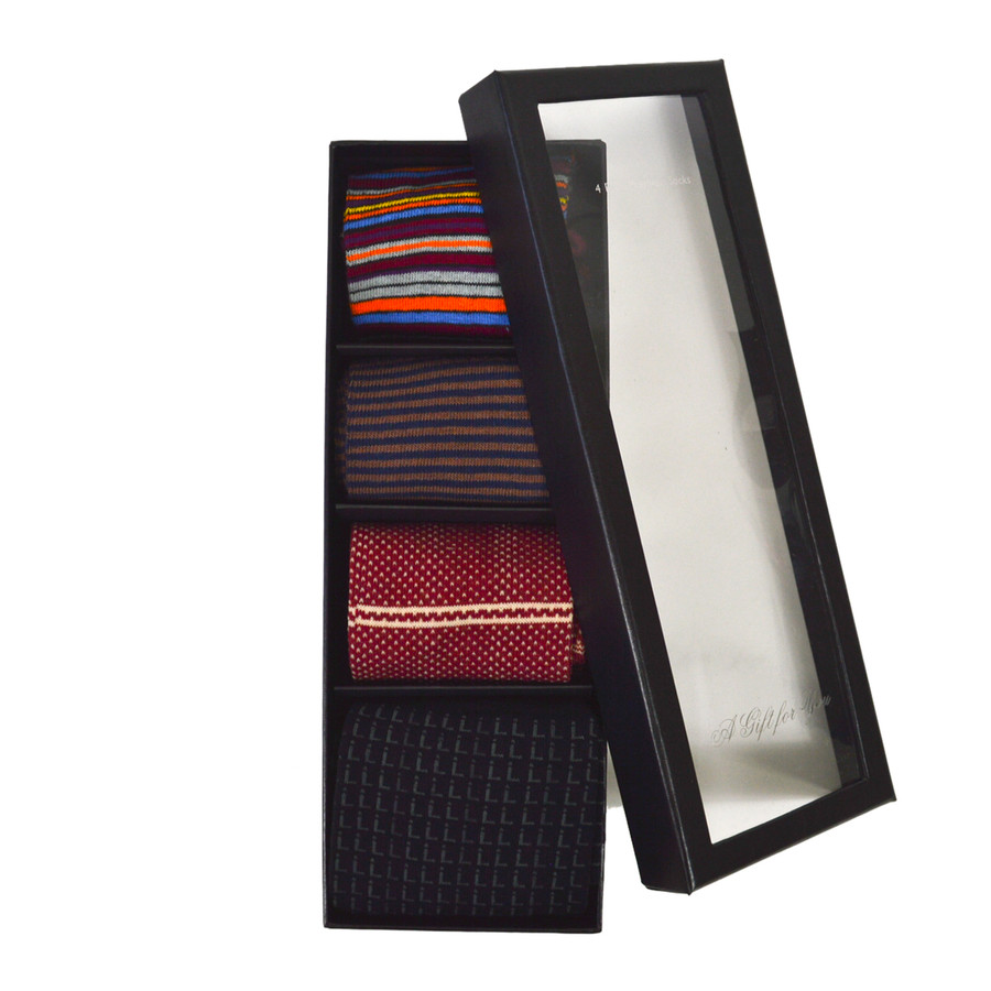 4 pairs Fancy Multi Colored Socks Gift Box SFGB11