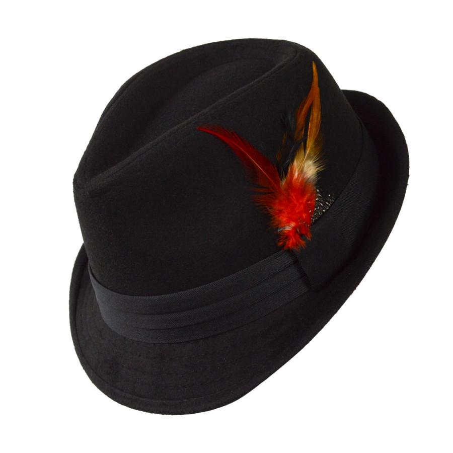 6pc Men's Black Poly/Cotton Westend Fur Felt Fedora Hats H10333