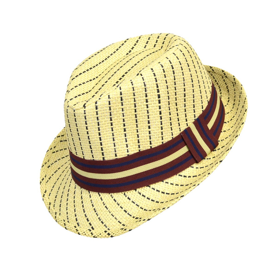 6pc Boy's Spring/Summer Navy Striped Tan Straw Fedora Hats