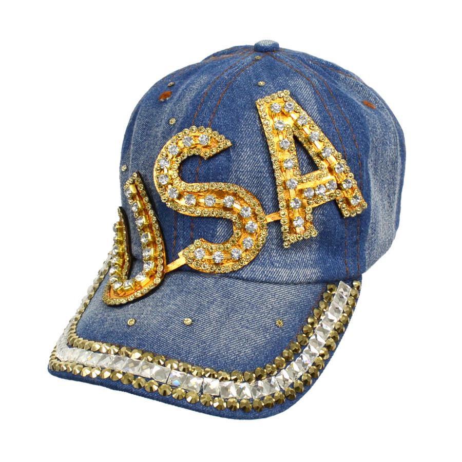 "Bling Studs ""USA"" Denim Cap"