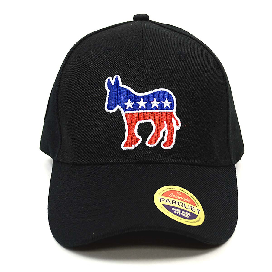 Democrat Donkey Black Embroidered Baseball Cap