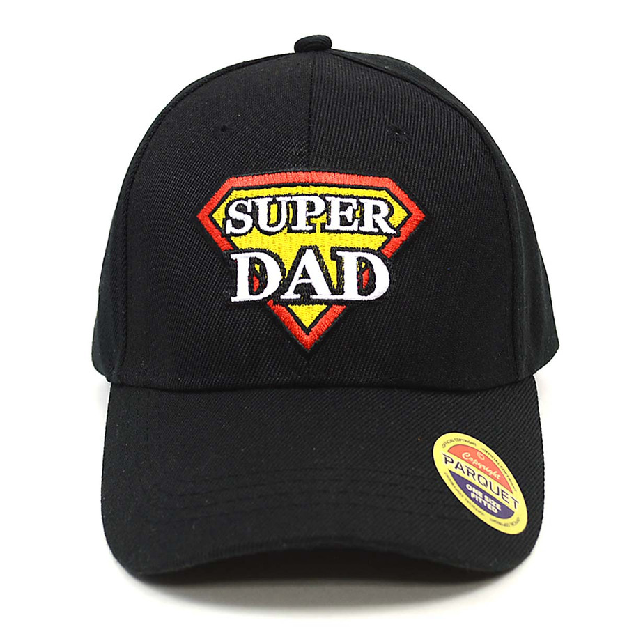 Super Dad Black Embroidered Baseball Cap