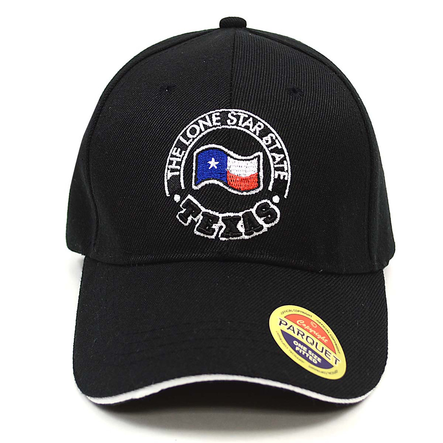 Texas Flag Black Embroidered Baseball Cap