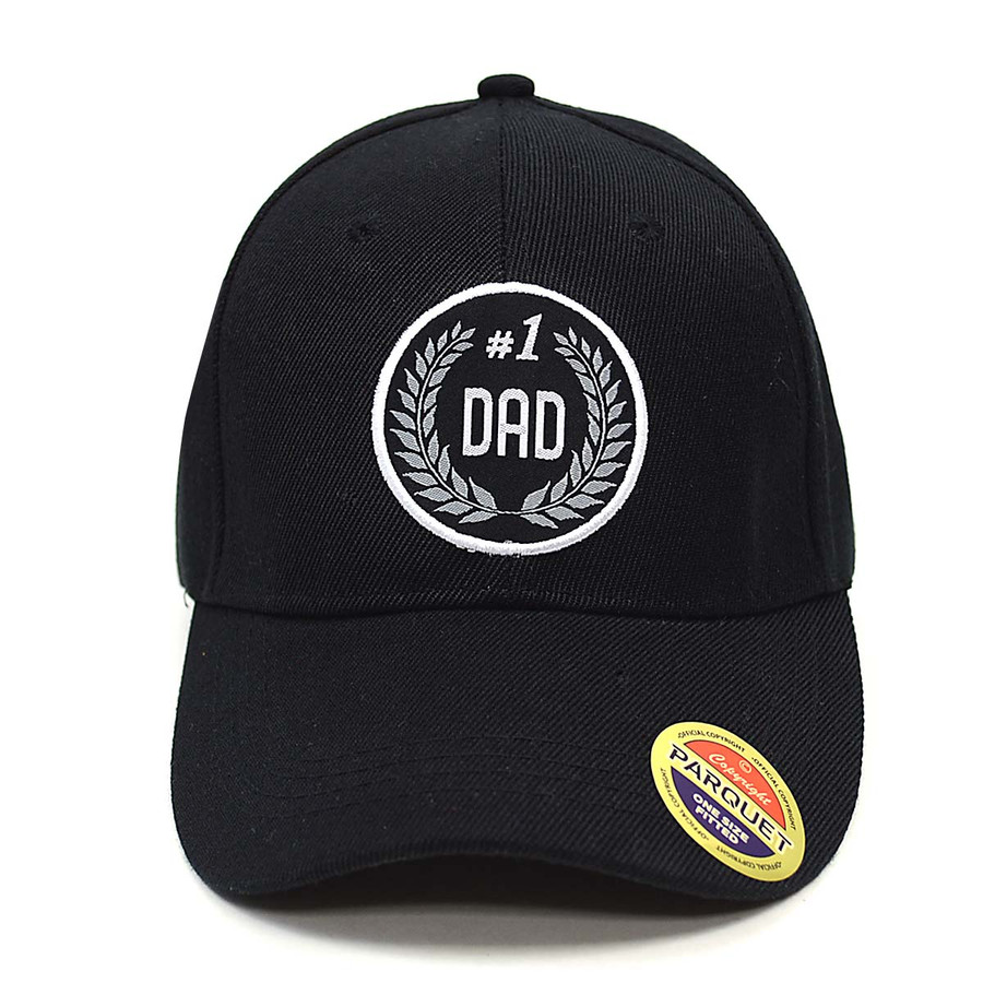 #1 Dad Black Embroidered Baseball Cap