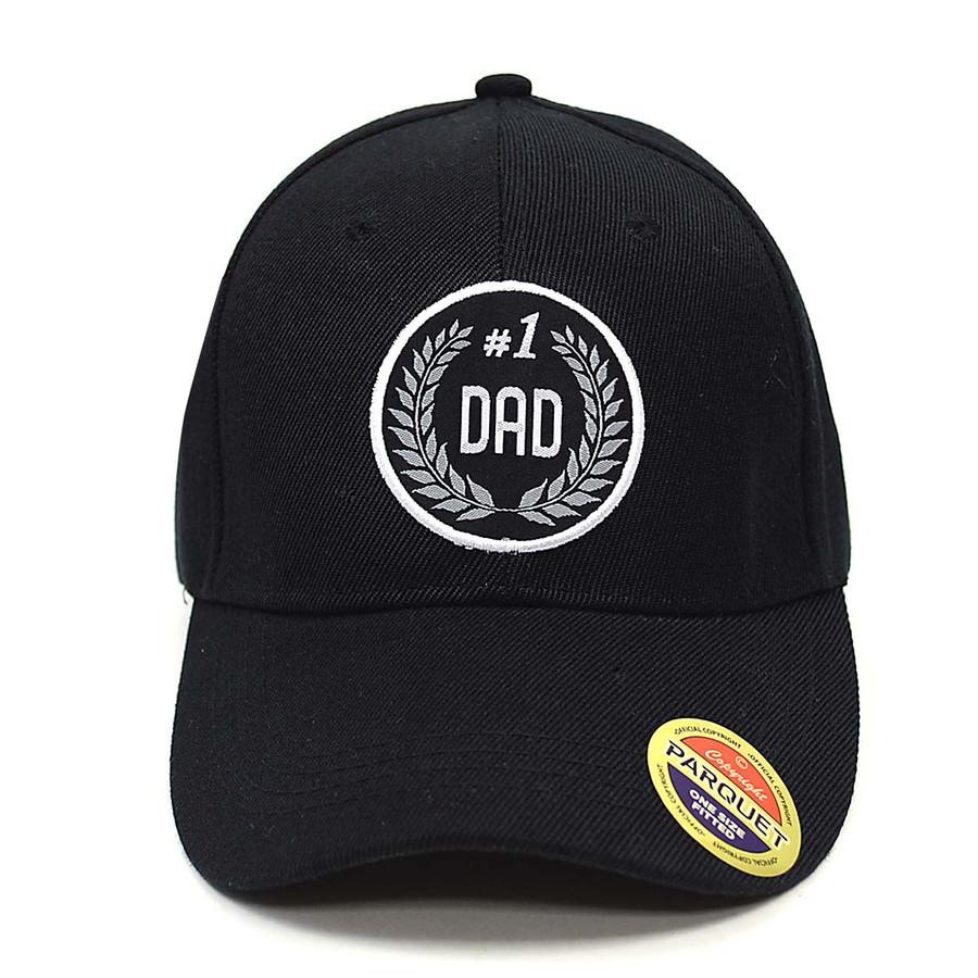 #1 Dad Black Embroidered Baseball Cap