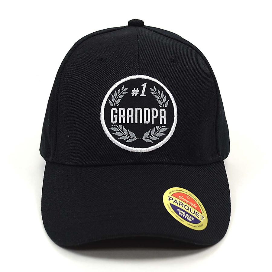 #1 Grandpa Black Embroidered Baseball Cap