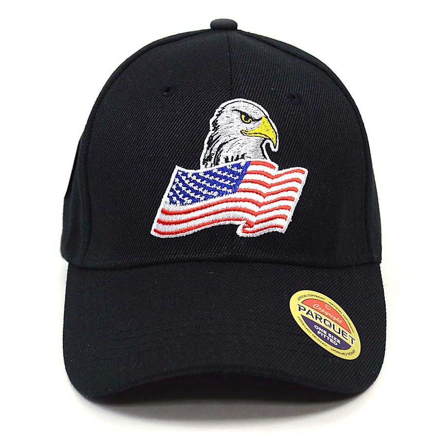 American Flag & Eagle Black Embroidered Baseball Cap
