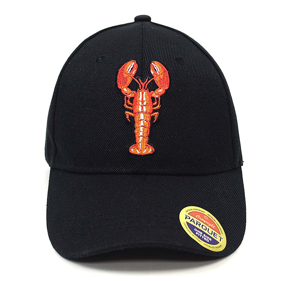 Lobster Black Embroidered Baseball Cap