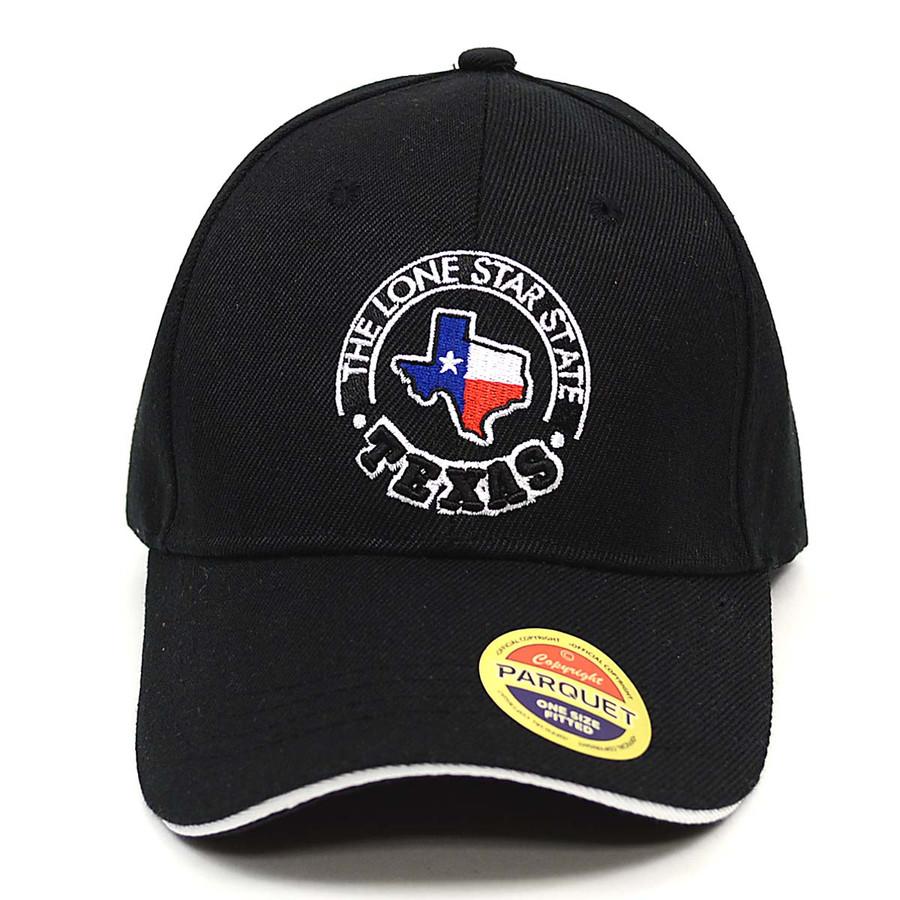 Texas Flag Map Black Embroidered Baseball Cap
