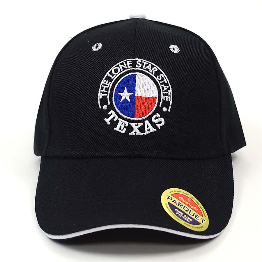 Texas Flag in Circle Black Embroidered Baseball Cap