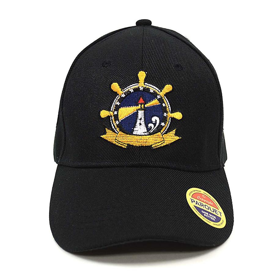 Lighthouse Black Embroidered Baseball Cap
