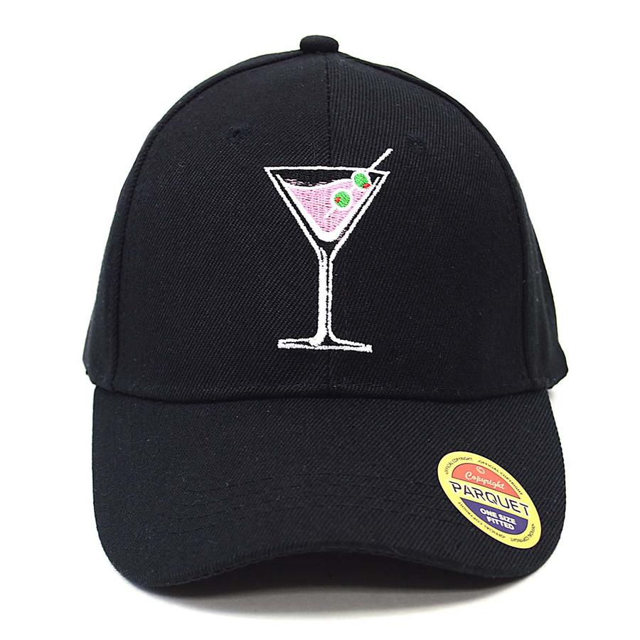 Martini Black Embroidered Baseball Cap