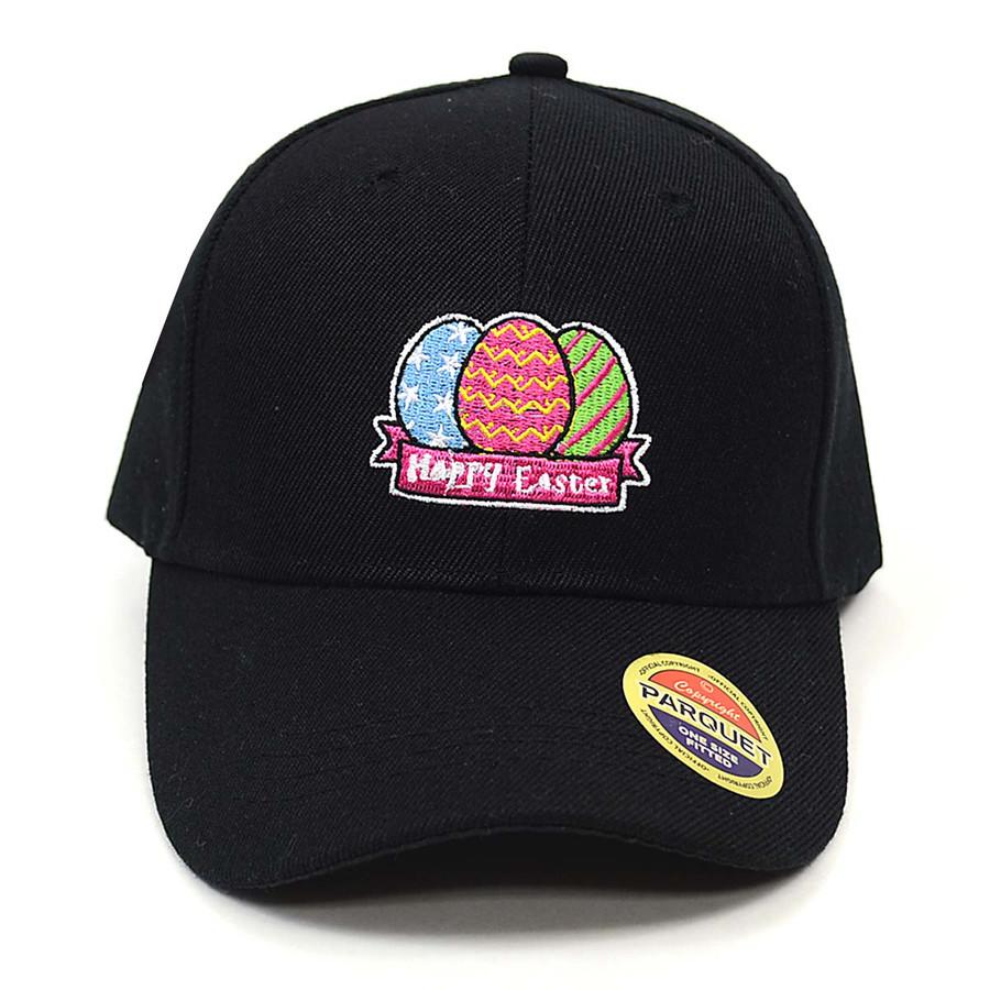 Easter Egg Black Embroidered Baseball Cap
