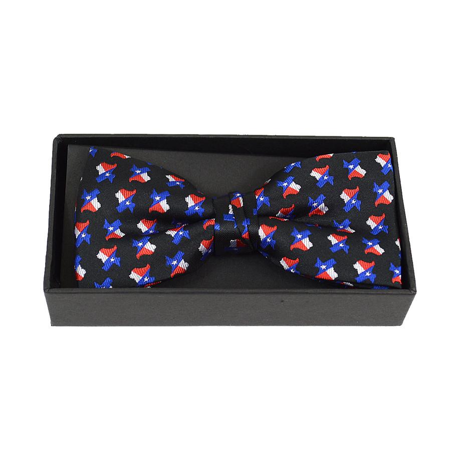 3pc Men's Texas Flag Black Banded Bow Tie (NFB10018)