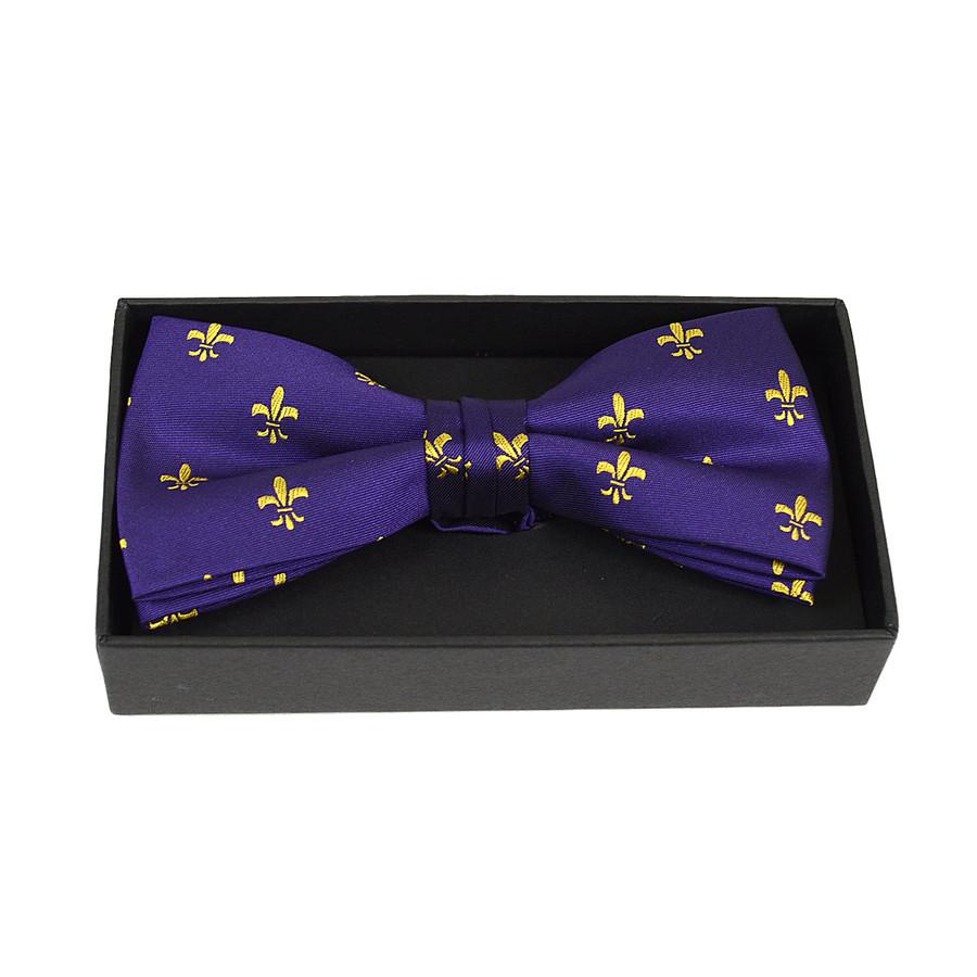 3pc Men's Fleur-de-lis Purple Banded Bow Tie (NFB10021)