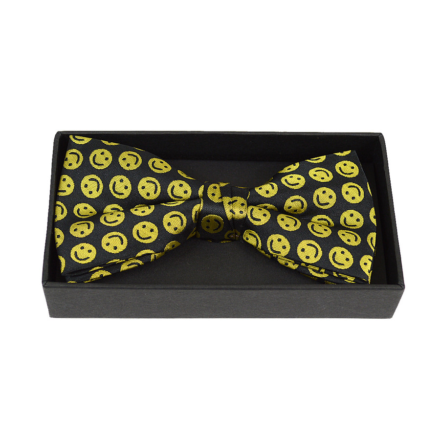 3pc Men's Yellow Smile Face Banded Bow Tie (NFB10019)
