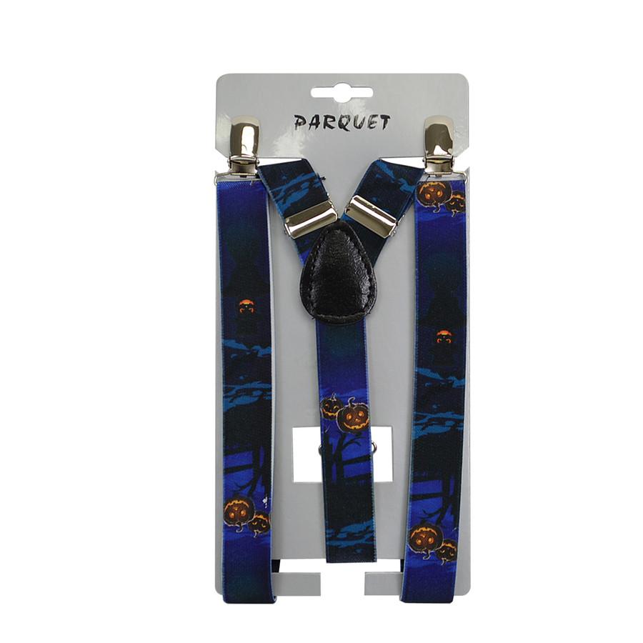 6pc Men's Y-Back Halloween Adjustable Elastic Black Clip-on Suspenders
