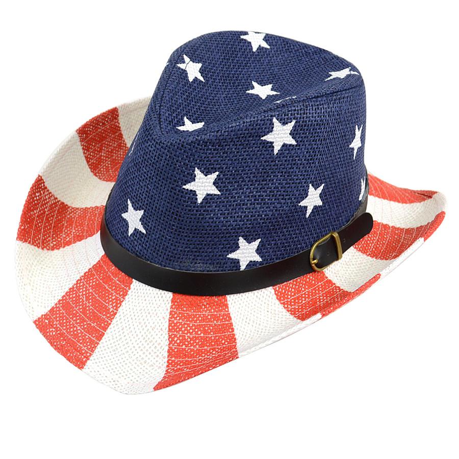 6pc Men's Spring/Summer American Flag Fedora Hat H10319