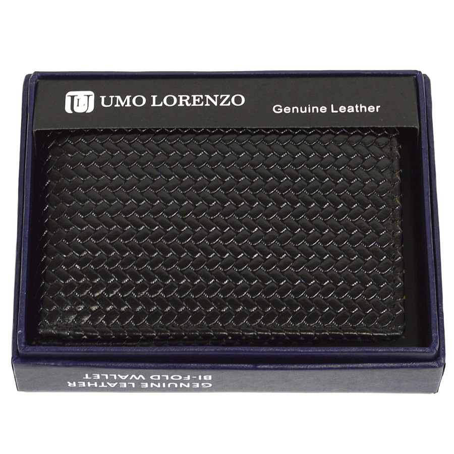 Bi-Fold Genuine Leather Black Woven Wallet CLG786BK