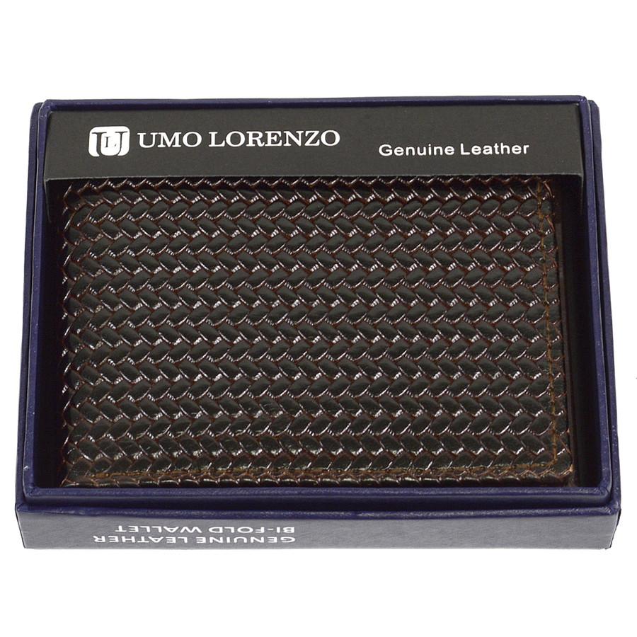 Bi-Fold Genuine Leather Brown Woven Wallet CLG786BR