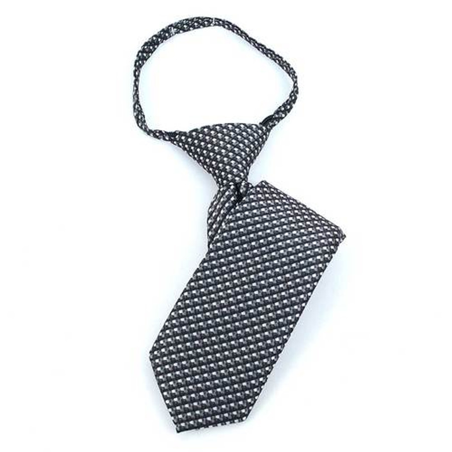 Boy's Black  Geometric/Polka Dot Zipper Tie - MPWZ1131