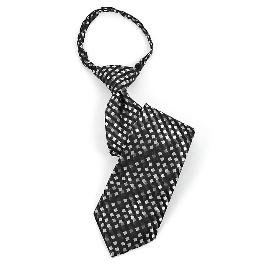 Boy's  Black & Grey Square Stripes Zipper Tie