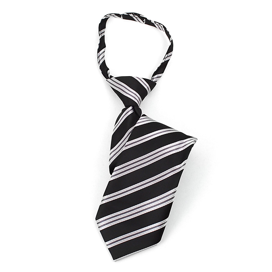 Boy's Black & Gray Stripes Zipper Tie