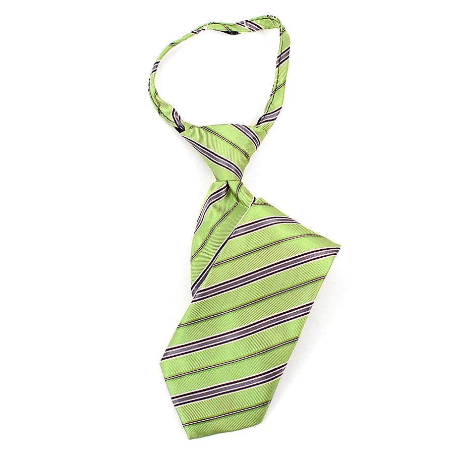 Boy's Green & Gray Striped Zipper Tie