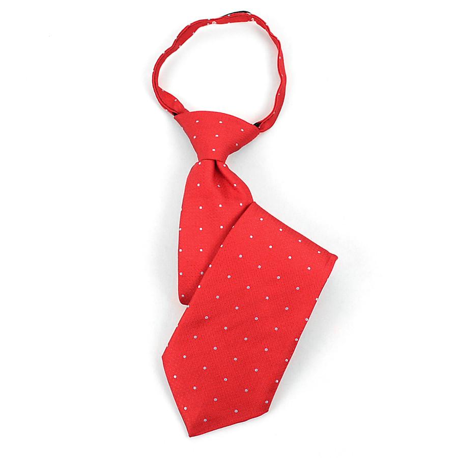 Boy's  Red & Gray Geometric/Polka Dot Zipper Tie