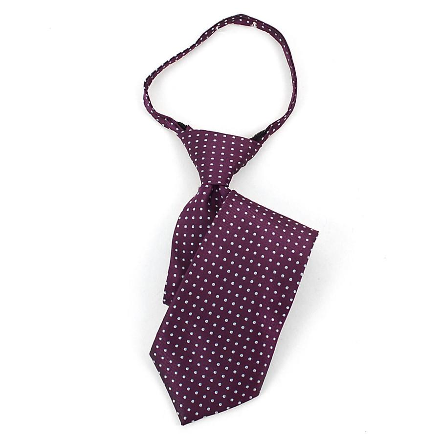 Boy's Plum & Gray Geometric/Polka Dot Zipper Tie