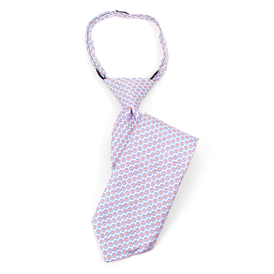 Boy's  Blue & Red Geometric/Polka Dot Zipper Tie