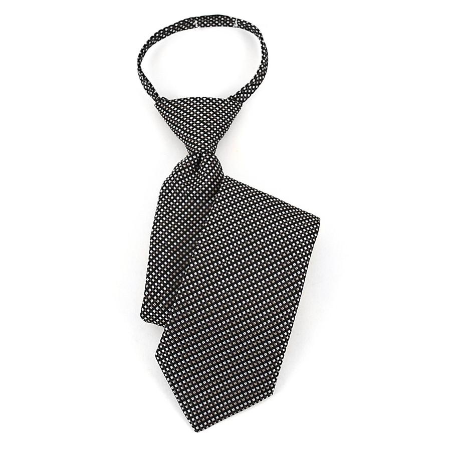 Boy's Black/White & Gray Geometric/Polka Dot Zipper Tie