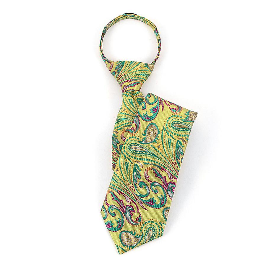 Boy's Green & Purple Paisley Zipper Tie