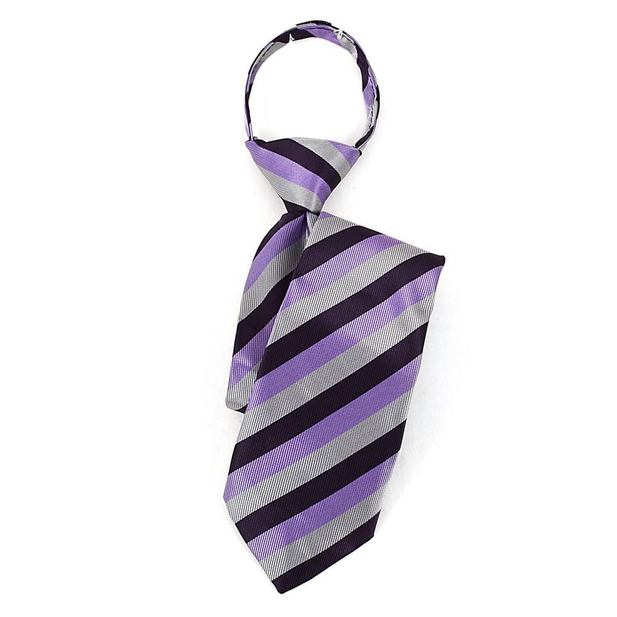 Boy's Purple & Silver Striped Zipper Tie