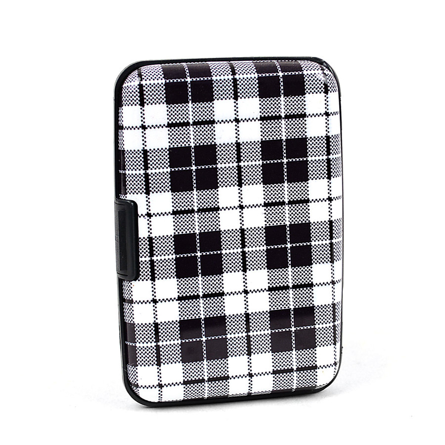 Card Guard Aluminum Compact Wallet Credit Card Holder with RFID Protection - Plaid