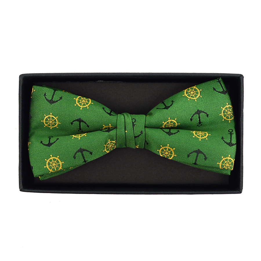 Men's Novelty Green Anchor Banded Bow Tie
