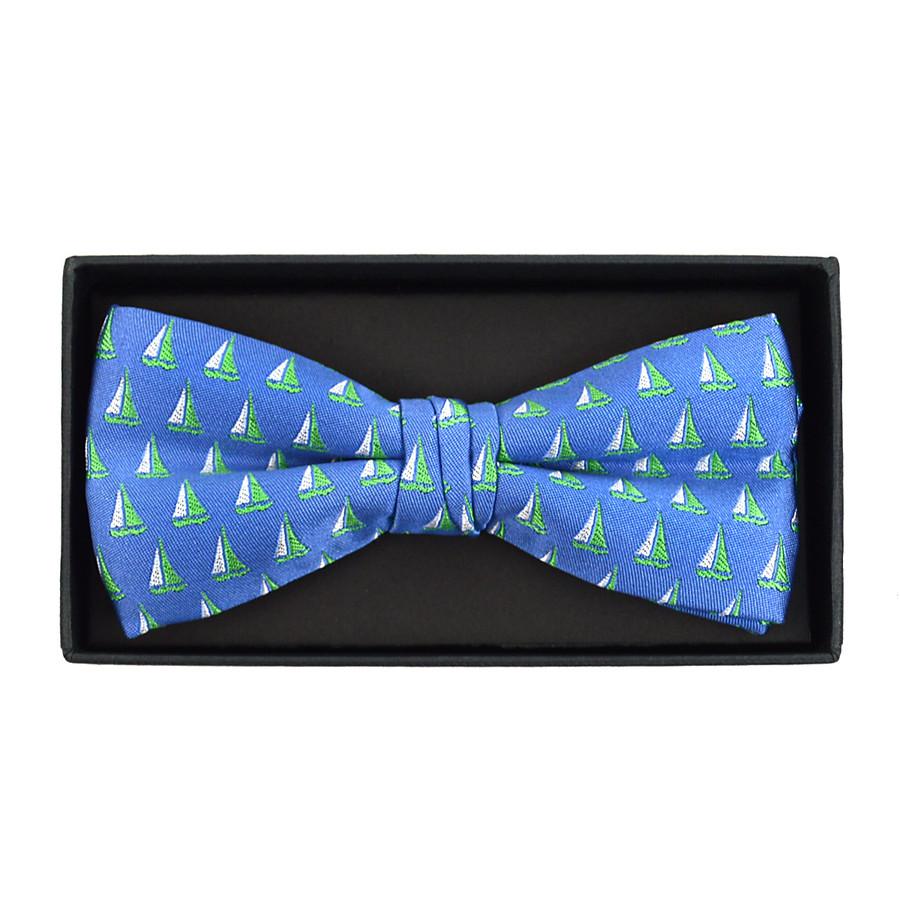 Men's Novelty Blue Sailor Boat Banded Bow Tie