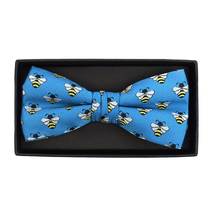 Men's Novelty Blue Bee Banded Bow Tie