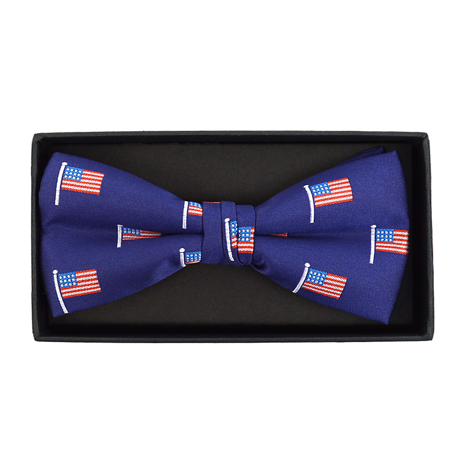 Men's Blue American Flag Banded Bow Tie (NFB10027)