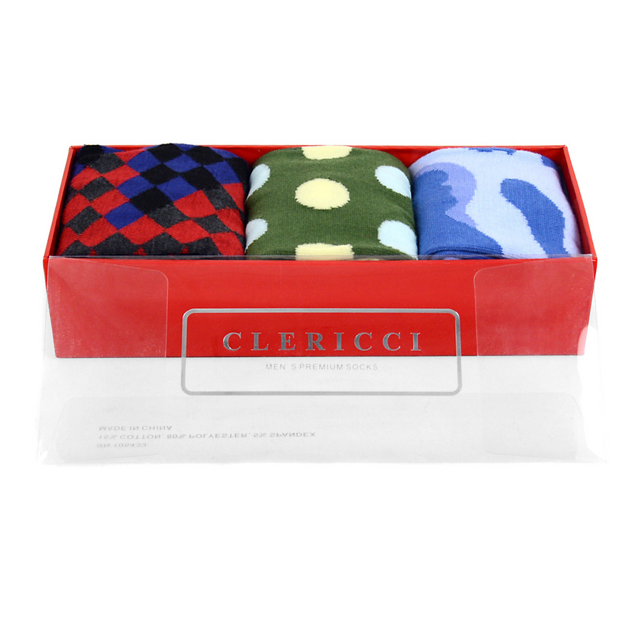 Fancy Multi Colored Socks Gift Red Box (3 paris in Box)  SGBL12